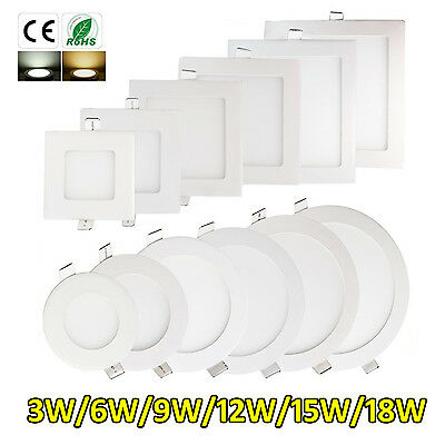 Led Recessed Lighting Panel Ceiling Down Light Ultraslim Round Square Downlights • 6.95£