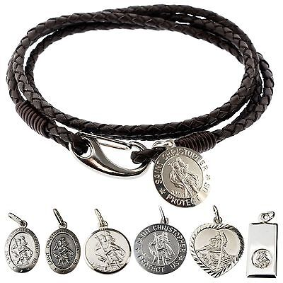 Personalised Leather Bracelet & Various 925 Silver ST Christopher FREE ENGRAVING • 36.49£