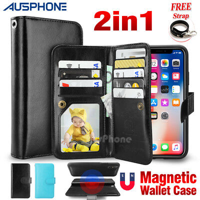 AU10.49 • Buy IPhone XS Max XR 8 7 6 Wallet Magnetic Flip Premium Leather Case Cover For Apple