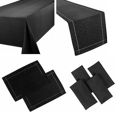 Linen Look Black Table Cloths Plain Birthday / Party / Christmas Occasions • 8.99£