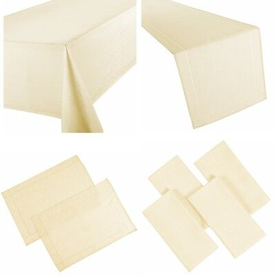 Linen Look Cream Natural Table Cloths Plain Birthday Party Christmas Occasions • 6.99£