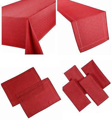 Linen Look Red Table Cloths Bright Plain Birthday Party Christmas Occasions • 8.99£