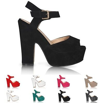 £19.99 • Buy New Ladies Platform High Chunky Heel Peep Toe Ankle Strap Sandals Shoes Size 3-8