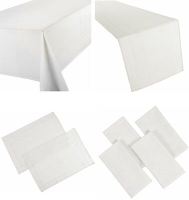 Linen Look White Table Cloths Natural Plain Birthday Party Christmas Occasions • 8.99£