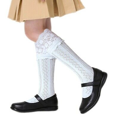 2-16 Years School Girls Cotton Knee Length Socks Navy Blue White Grey Black • 2.94£