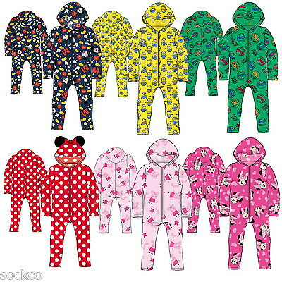 Official Licensed  All In One Pyjamas Boys Girls Minions Peppa Pig Gift • 8.99£