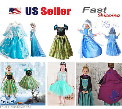 $15.98 • Buy Gorgeous Queen Elsa & Princess Anna Costume Cosplay Party Dress Up