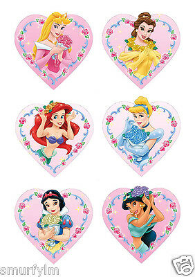 £5.46 • Buy DISNEY PRINCESS 48 CAKE TOPPERS PARTY ICING SUGAR  HEART SHAPE DIY IMG D NEW***