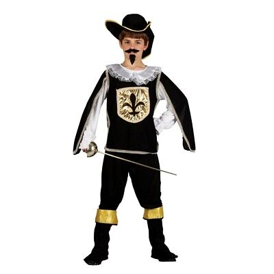 Boys French MUSKETEER BLACK Fancy Dress Book Week Costume + Hat Outfit Age 5-10 • 16.95£