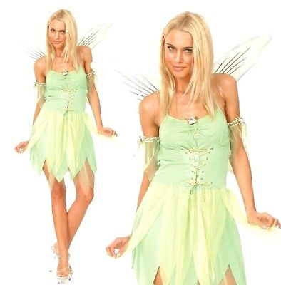 £16.90 • Buy Adult NEVERLAND Pixie Fairy Outfit Ladies Tinkerbell Fancy Dress Costume UK 6-24