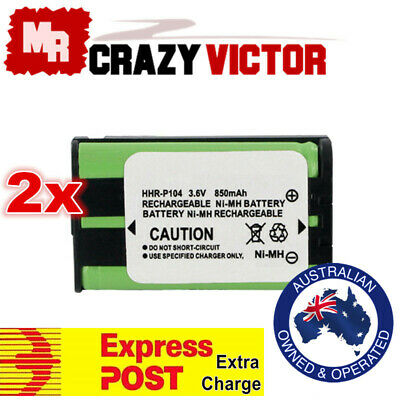 AU10.95 • Buy 2x Replacement Battery For Panasonic Cordless Phone HHR-P104 HHR-P104A HHR P104