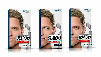 £29.99 • Buy Just For Men AutoStop Ready To Use Mens Hair Colour Dye LIGHT  BROWN A25 X3