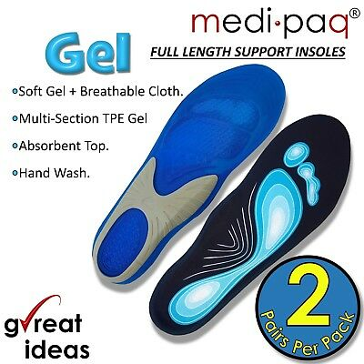 £9.89 • Buy Gel Insoles For Shoes Work Boots Size Mens Womens Orthotic Foot Arch Support UK