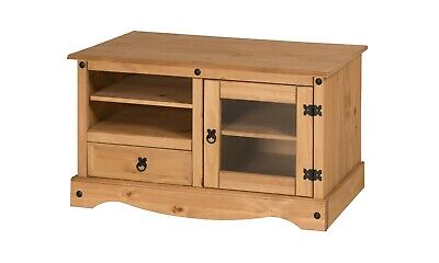 Corona TV Unit Entertainment Cabinet Stand Glass Door Pine By Mercers Furniture® • 69.99£
