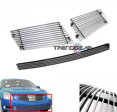 $59.95 • Buy Main Upper + Bumper Billet Grille 3pcs Combo For 2004-2006 Maxima Horizontal Bar