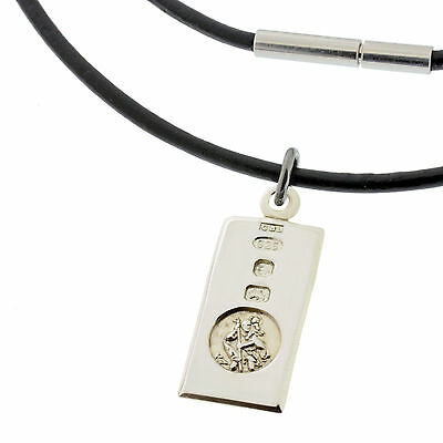 BLACK Leather Necklace & 925 Silver St Christopher INGOT Pendant FREE ENGRAVING • 28.49£