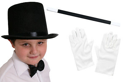 Childs Top Hat White Gloves And Wand Magician Fancy Dress Costume Set Magic Man • 4.99£