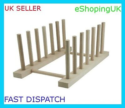£6.89 • Buy New Beech Wood Wooden 6 Dish Dishes Plate Rack Stand Holder Drainer Kitchen
