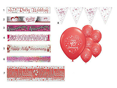40th RUBY WEDDING ANNIVERSARY BANNERS 8 DESIGNS PARTY DECORATIONS • 1.79£