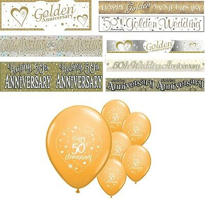 50th GOLDEN WEDDING ANNIVERSARY BANNERS 8 DESIGNS PARTY DECORATIONS • 1.89£