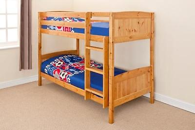 3ft Single Bunk Bed Wooden Frame In Pine White Can Split Into 2 Singles • 169.99£