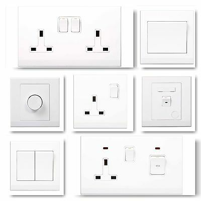 Simplicity Screwless Plastic White Range Light Switches Plug Sockets Dimmer Fuse • 6.99£