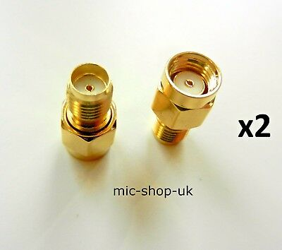 £2.95 • Buy RP SMA Male Plug To SMA Female Jack WiFi Antenna Extender Adapter Gold  X 2