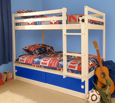 Wooden Kids Childrens White Single Bunk Bed With Storage • 999.99£