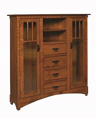 $2350 • Buy Amish Mission Arts And Crafts Bookcase Glass Doors Solid Wood Cabinet