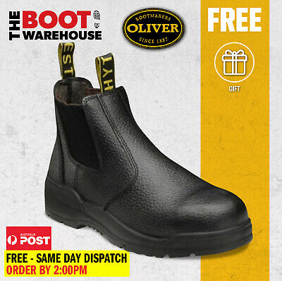 AU56.43 • Buy Oliver / Kings Work Boots, 15480, 'Black', Elastic Sided, Steel Toe Safety. New!