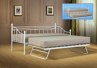 £204.99 • Buy Single Metal Day Bed White Or Black Guest Bed With Trundle Mattress Option