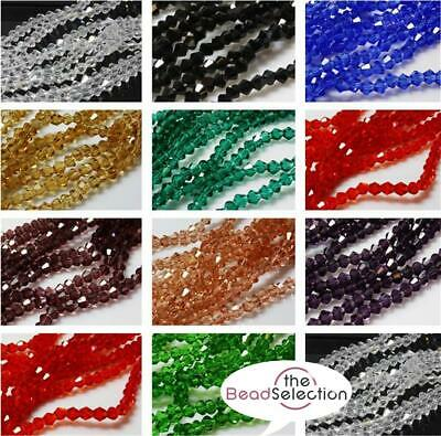 £2.19 • Buy 100 FACETED CRYSTAL GLASS BICONE BEADS  4mm COLOUR CHOICE