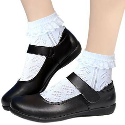 Girls Pointelle Cotton Ankle School Socks With Minimal Toe Seam White Size L • 2.74£
