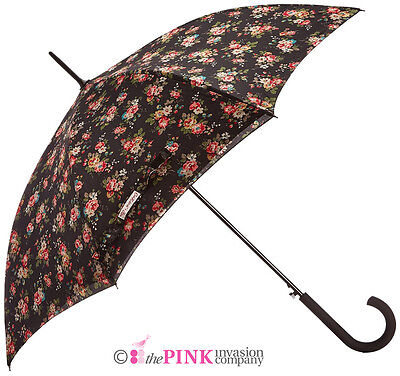 Cath Kidston Kingswood Rose Charcoal Auto Open Walking Umbrella Double Lining • 32.95£