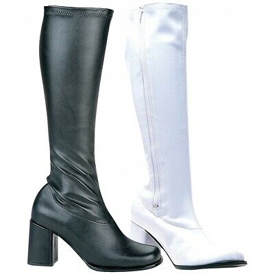 GoGo Boots Adult Womens Chunky High Heel Shoes 60s 70s Costume Fancy Dress • 22.39£