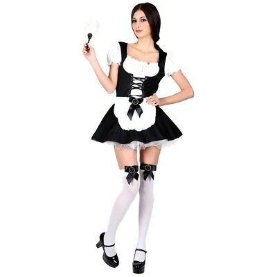 £5.95 • Buy Ladies FLIRTY FRENCH MAID Fancy Dress Sexy House Cleaner Costume UK Sizes 6-24