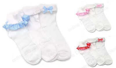 Pack Of 6 Girls Gingham Lace Socks Frilly White Ankle School Chic Kids Frilled • 5.89£