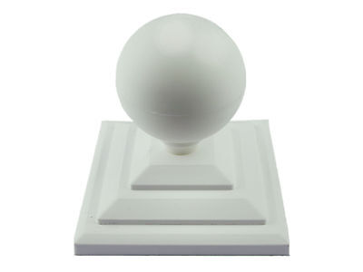 £7 • Buy Linic 2 X White Round Sphere Fence Top Finial + 4  Fence Post Cap UK Made GT0032