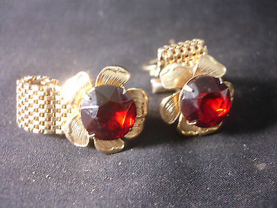 $24.95 • Buy Gold Tone Red Stone Flower Style Unique Men's Cuff Links And Pin In Jewelry