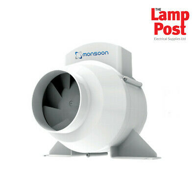 £36.99 • Buy Monsoon UMD100TA 4  In Line Mixed Flow Bathroom Extractor Fan With Timer