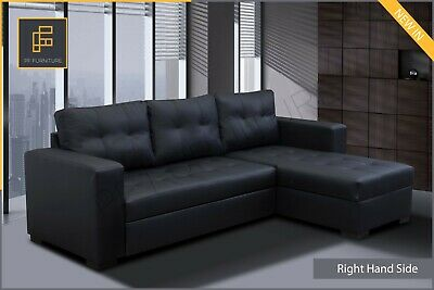 £629 • Buy Brand New CORNER SOFA BED Gianni Faux Leather Black With Storage