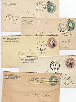 AU26 • Buy Stamps 1800's USA Pre-printed Embossed Group Of 5 Covers All Used & Sent In USA