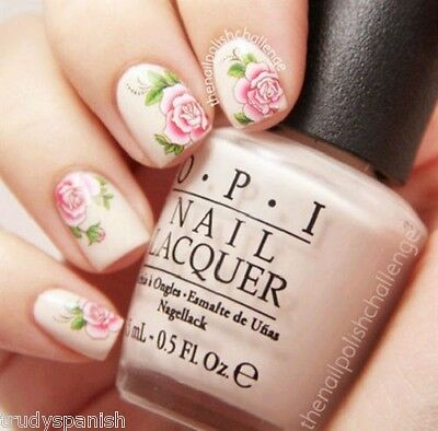 £1.65 • Buy Nail Art Stickers Nail Water Decals Nail Transfers Pink Flowers Roses 1829