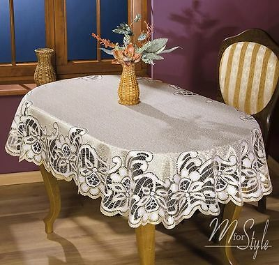 Thick Quality Lace Tablecloth Natural Golden Beige Oval 51  X 67  (130 X 170cm) • 15.50£