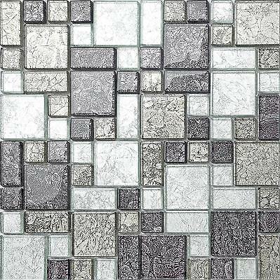 Black & Silver Foil Modular Glass Mosaic Tiles Sheet 300x300x6mm (MT0044) • 6.49£