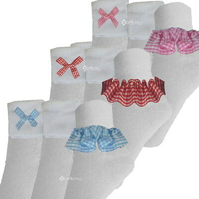 £3.95 • Buy 6 Or 12 Pairs Girls Cotton Gingham Ankle Socks School All Sizes Baby To Adult