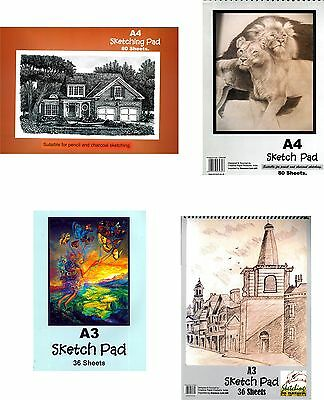 Sketching/Drawing Pad A3/A4/Spiral Bound/Hardback Sketching ForPencil & Charcoal • 3.99£