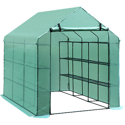 Outsunny Garden Greenhouse Plant Shelves Polytunnel Steeple Grow House PE Cover • 90.99£