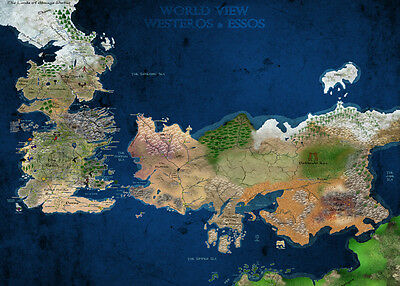£4.95 • Buy A3 Game Of Thrones World View Westeros & Essos Map POSTER GOTW01 BUY 2 GET 1FREE
