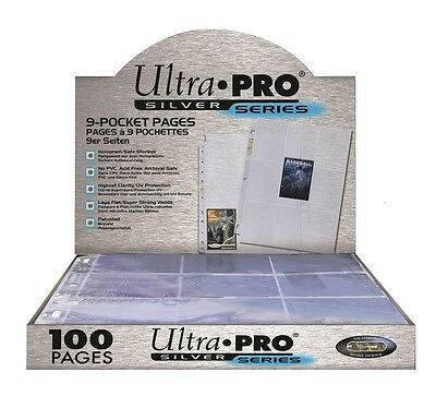 100 X ULTRA PRO SILVER SERIES 9 POCKET CARD SLEEVES SEALED BOX PAGES AFL POKEMON • 25.97£